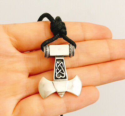 THORS HAMMER Silver Viking Mjolnir 925 Sterling Silver Necklace Pendant Jewelry
