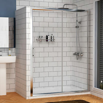 1200 x 800mm Single Sliding Door Shower Enclosure Cubicle 6mm Glass + Stone Tray