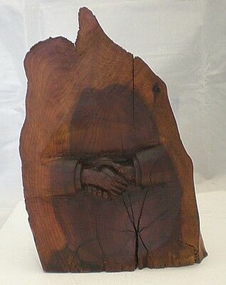 Rare & Unusual Antique Wood Carving - Hands Of Friendship