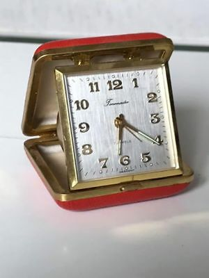 Timemaster Alarm Clock - Red Travel Clamshell faux Leather - Vintage Boxed Works