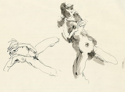 Peter Collins ARCA - c.1970s Pen and Ink Drawing, Studies of a Female Nude