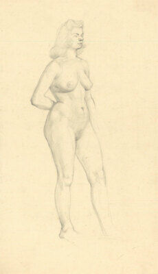 Peter Collins ARCA - c.1970s Graphite Drawing, Standing Female Nude