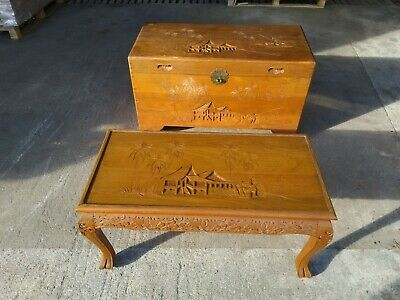 Large Oriental Chinese Carved Camphor Vintage  Chest and Table