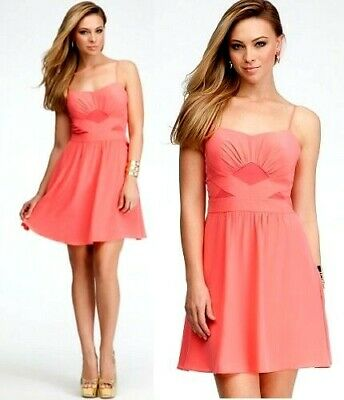 $159 NWT bebe coral pink straps fit flare contrast bodice top dress L large 8 10