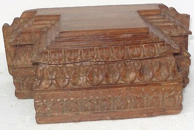 Antique Wood Column Base Architectural Carved Capital Restored decor & Display