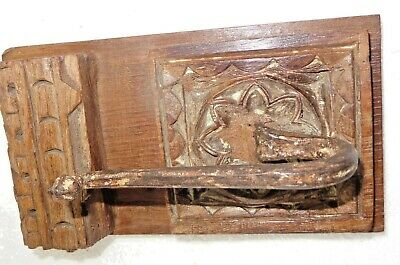Antique redefine Carved  block Wall Coat hanger Kunti Iron hook wood back E-4