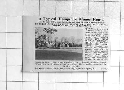 1936 Hampshire Manor House Near Basingstoke For Sale 13 Bedrooms 23 Acres