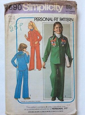 Simplicity Girls Cowboy Style Embroidered Shirt Trousers Pattern Bust 27 Hips 28