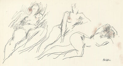 Peter Collins ARCA - Signed c.1970s Graphite Drawing, Reclining Life Studies
