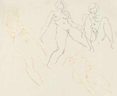 Peter Collins ARCA - c.1970s Graphite Drawing, Various Nude Studies
