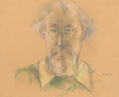 Peter Collins ARCA - Signed 1980 Graphite Drawing, The Self Portrait in Green