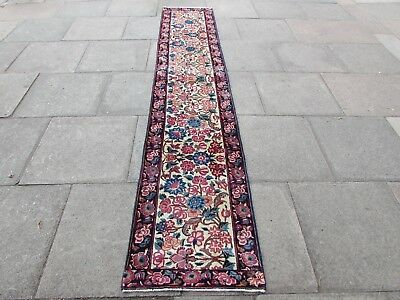 Old Shabby Chic Traditional Hand Made Persian Wool Cream Long Runner 323x62cm