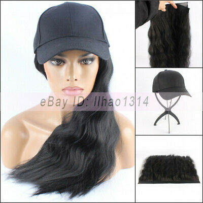 """Women's 20"""" Long Hair with Baseball Cap Funny Ball Hat 2 Parts Removable New HOT"""