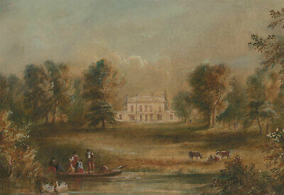 Early 19th Century Watercolour - Country House with Figures in a Punt