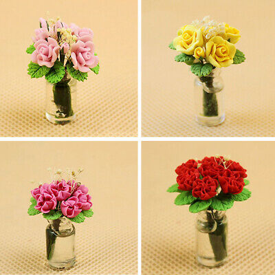 1/12 Scale Dollhouse Miniature Rose Flower in Glass Vase Room Decor Toy Novelty