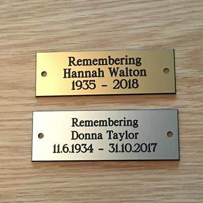 "Brass or Silver Effect Personalised Engraved Memorial Plaque 75 x 25 mm (3""x1"")"