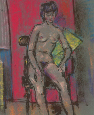 Peter Collins ARCA - c.1970s Pastel, Nude Seated in an Interior
