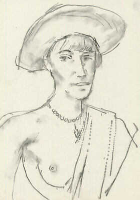 Peter Collins ARCA - c.1970s Charcoal Drawing, Portrait of a Woman in Pearls
