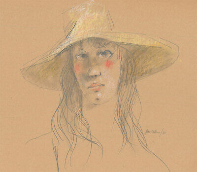 Peter Collins ARCA - Signed 1980 Graphite Drawing, Girl with Straw Hat
