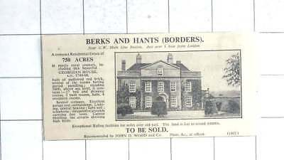1935 Georgian House With 750 Acres, Berkshire Hampshire Border For Sale