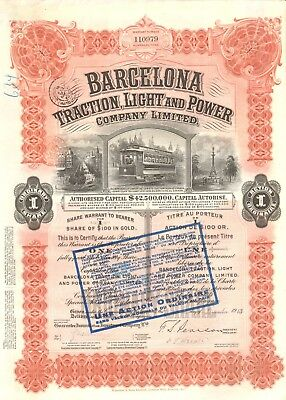 Barcelona Traction, Light and Power Company, accion, 1923, 100 USD, cap. 42,5