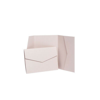 Nude Pearlescent Pocketfold invitations with envelopes. Wallet Invite Holders