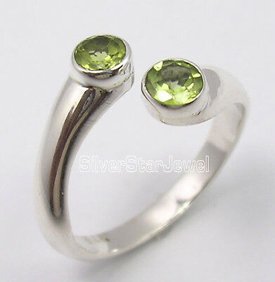 925 Sterling Silver Wonderful GREEN PERIDOT 2 CUT STONE LOVELY Ring Any Size