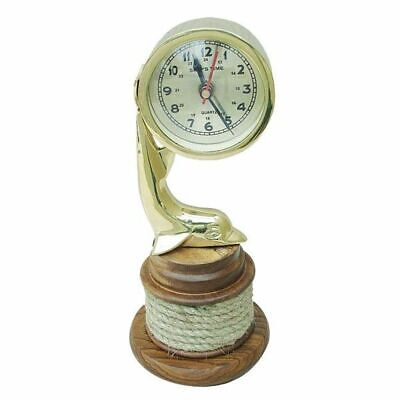 G4946: Table Clock with Dolphin on Taurolle, Maritime Watch, Exotic Wood, Brass