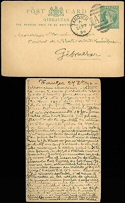DEC 27 1894 TANGIER Cds, Caged A26 on GIBRALTAR Postal Card & Addressed to Same!