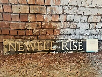 Vintage Old Industrial Pressed Metal English Street Road Name Sign Newell Rise