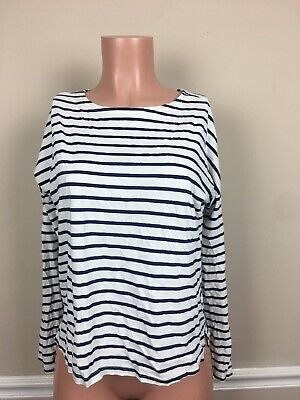Old Navy Women's Small S Blue White Striped Long Sleeve Classic Neckline Blouse