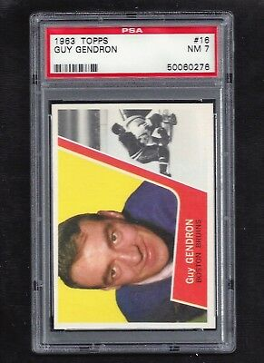 1963 Topps #16 Guy Gendron, PSA 7 NM, Vintage Boston Bruins NHL Hockey 1963-64