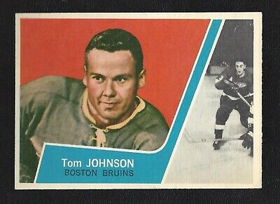 1963 Topps #4 Tom Johnson HOF Vintage Boston Bruins NHL Hockey 1963-64