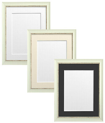 Nordic Distressed White Picture Photo Frame & White Black Ivory Blue Pink Mounts