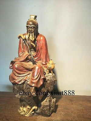 Chinese Wucai Porcelain & Pottery Founder of Taoism Taoist leader Lao Jun Statue