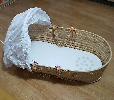 Baby Sleeping Moses Basket Bed Crib Wicker Bassinet With Cover Hood + Mattress