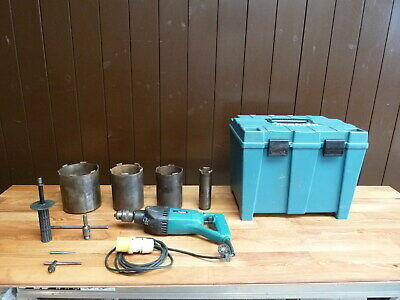 Makita 8406 13mm Diamond Core and Hammer Drill - 110v with 4 x Dry Core Cutters