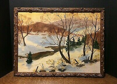 Original Winter Stream Oil Painting in Antique Stylized Branch Frame