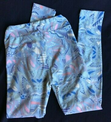 LuLaRoe Big Kids Leggings Size L/XL Blue Gray with Cream, Rose, Blues and Purple