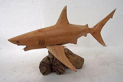 Unusual Hand Carved Great White Shark on Parasite Wood Shark Carving 30cm