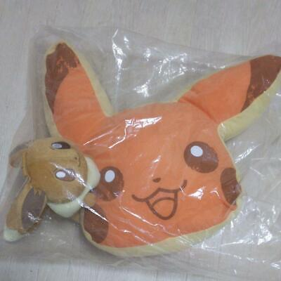 Pokemon Collection 2018 Pikachu & Eevee Pancake Cushion Plush Ichban-kuji C NEW