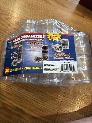 New Craft Organizers Mini Stackable Plastic Containers Set-Clear Round