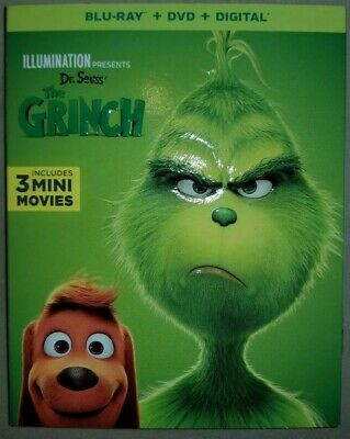 Dr. Seuss' THE GRINCH 2019 Blu-Ray + DVD + Digital W/  Slipcover Free Shipping