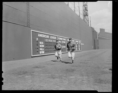 Ted Williams Boston Red Sox Classic Warms Up Running In Front Of Green Monster