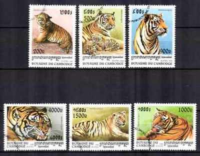 Animals Tigers Cambodia (25) Complete Set 6 Stamps Obliterated