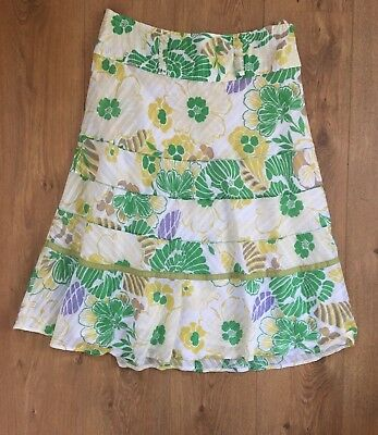092cd1efb1 Monsoon Ladies Size 14 Gypsy Style White Yellow Green Floral Design Summer  Skirt