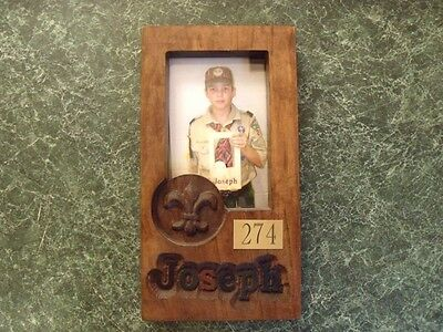 Custom carved Scout photo frame