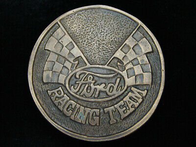 PK15158 VINTAGE 1970s **FORD RACING TEAM** SPORTS SOLID BRASS BARON BELT BUCKLE