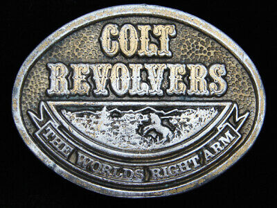 QH13132 VINTAGE 1970s **COLT REVOLVERS THE WORLD'S RIGHT ARM** BELT BUCKLE