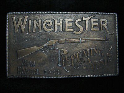 QL13165 VINTAGE 1970s **WINCHESTER REPEATING ARMS** BRASSTONE BELT BUCKLE